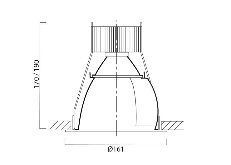 VP X161 Wallwasher Line Drawing